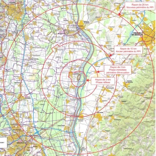 La zone d'évacuation autour de Fessenheim